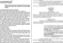 Lei que exige equidade salarial entre homens e mulheres é publicada na Paraíba