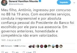 No Twitter, Mourão volta a justificar promoção do filho no BB: 'Entrou por concurso'