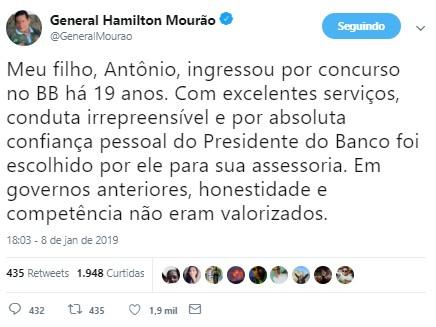 mourao 1 - No Twitter, Mourão volta a justificar promoção do filho no BB: 'Entrou por concurso'