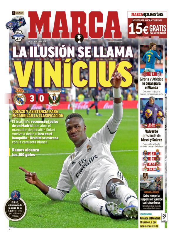 Após resultado positivo imprensa espanhola aponta Vinícius Júnior como esperança para o Real Madrid em 2019