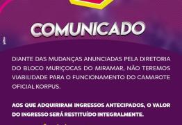 MURIÇOCAS SEM CAMAROTES: Após mudanças no percurso empresa avisa que manutenção de camarotes não tem 'viabilidade'