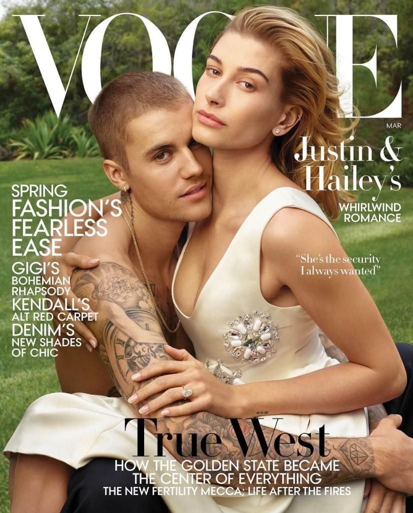 """BIEBER - 'FUI RECOMPENSADO': Justin Bieber diz à revista Vogue que """"escolheu esperar"""" até o casamento com Hailey"""