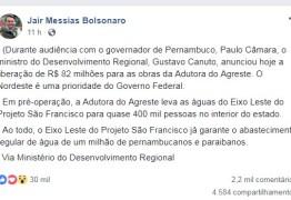 'NORDESTE É UMA PRIORIDADE': Bolsonaro anuncia liberação de R$ 82 milhões para 'Adutora do Agreste'