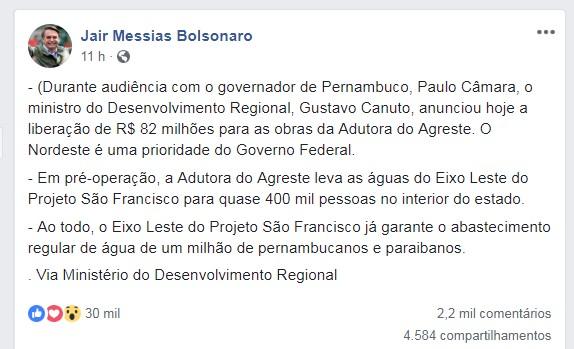BOLSONARO NORDESTE - 'NORDESTE É UMA PRIORIDADE': Bolsonaro anuncia liberação de R$ 82 milhões para 'Adutora do Agreste'