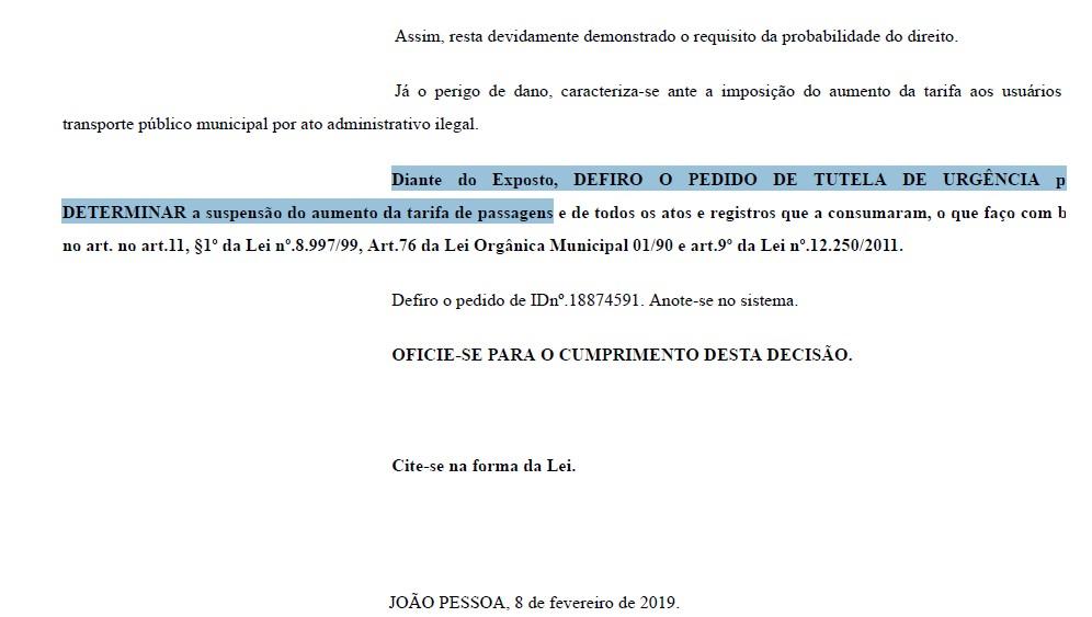 DECISÃO JUDICIAL 1 - Justiça suspende aumento de passagens em JP, e prefeito assina novo decreto para regularizar reajuste; LEIA DECISÃO