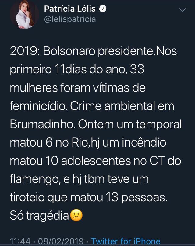 acusação falsa 3 - Patrícia Lélis recebe críticas após relacionar chuvas no Rio ao Governo Bolsonaro e colocar em dúvida cirurgia do presidente