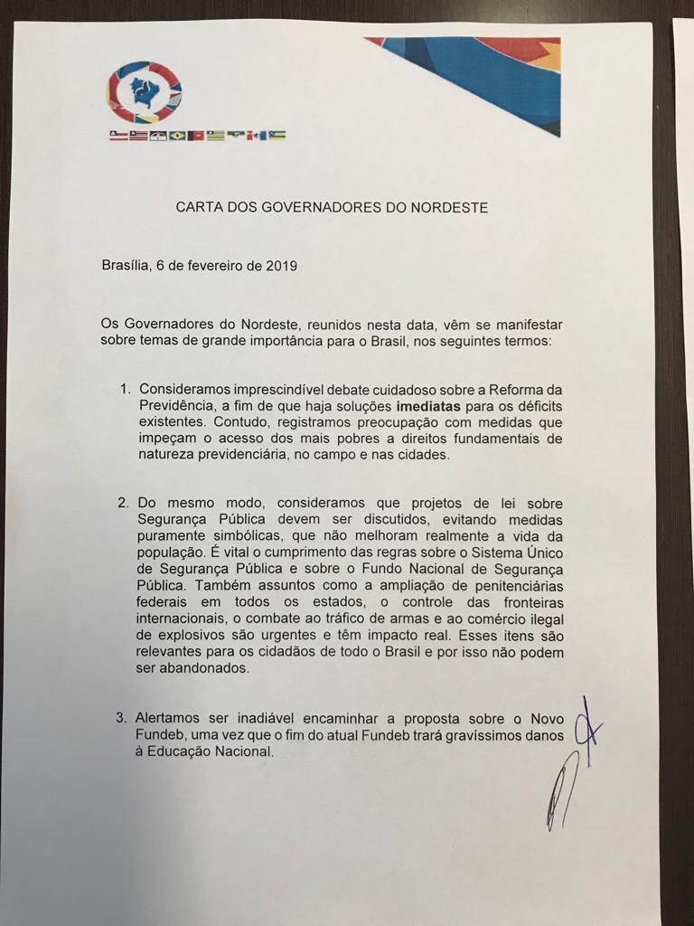 carta dos governadores - CONFIRA DOCUMENTO: Carta do Encontro dos Governadores do Nordeste revela preocupação com acesso dos mais pobre a previdência após reforma