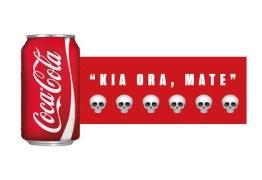 """Coca-Cola escreve """"olá, morte"""" em cartaz na Nova Zelândia"""