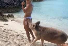 Modelo é mordida por porco ao posar em ponto turístico – VEJA VÍDEO