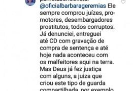 PROSTITUTOS, VENDIDOS, CORRUPTOS: Pamela Bório faz postagem em rede social com insultos à Juízes, Promotores e Desembargadores