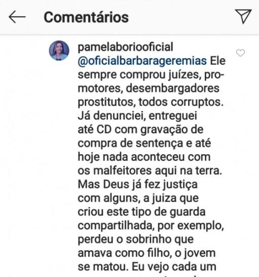 pamelaborio 560x600 280x300 - PROSTITUTOS, VENDIDOS, CORRUPTOS: Pamela Bório faz postagem em rede social com insultos à Juízes, Promotores e Desembargadores