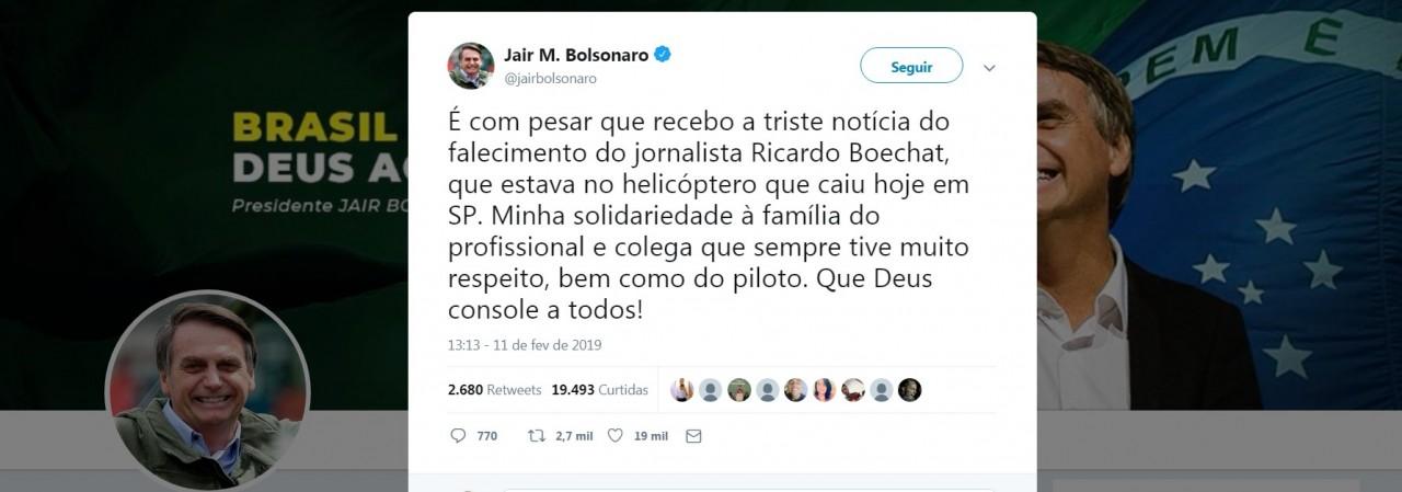 tweet 1 - 'Que Deus console a todos', Bolsonaro lança nota de pesar por morte de Ricardo Boechat