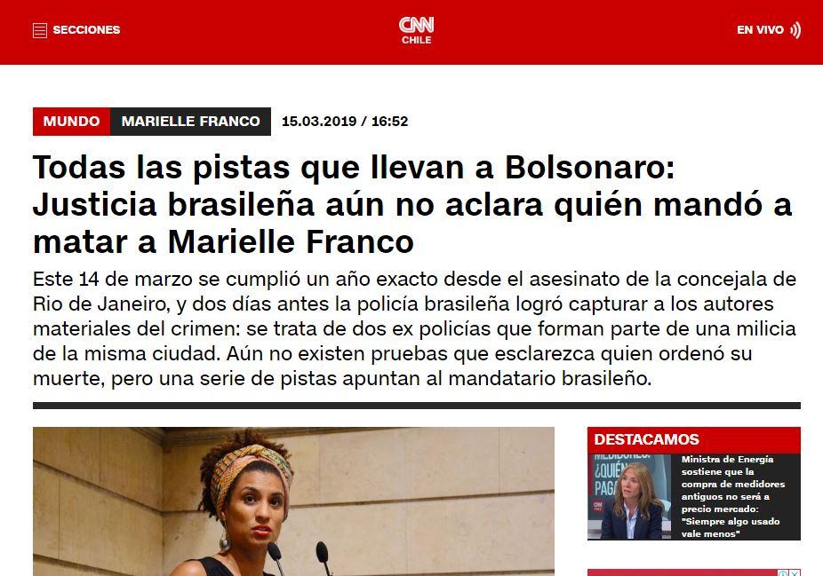 CNN CHILE ATUAL - CNN CHILE: 'Todas as pistas que levam a Bolsonaro; Justiça brasileira ainda não esclarece quem mandou matar Marielle'