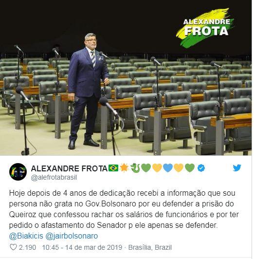 Capturar 14 - No Twitter, Frota diz que é persona non grata no Governo Bolsonaro