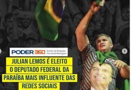 """Deputado mais influente nas redes sociais, Julian Lemos comemora título: """"A melhor resposta são os frutos do trabalho"""""""