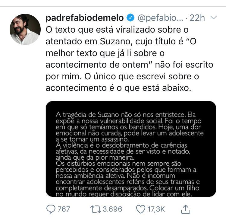 WhatsApp Image 2019 03 16 at 11.13.20 - ERA FAKE NEWS: texto sobre Suzano não é do Padre Fábio de Mello e Correio da Paraíba replica mensagem falsa