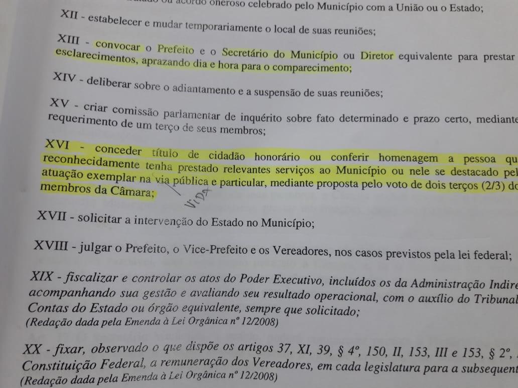 documento - 'CONCESSÃO DE TÍTULO É ILEGAL': Marcos Henriques diz que votação para homenagem a Bolsonaro não tem validade - VEJA REGIMENTO