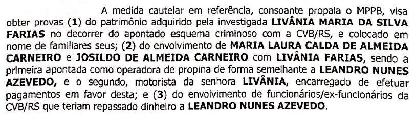 pag 1 mandado - OPERAÇÃO CALVÁRIO: Gaeco mira em parentes de Livânia Farias, em Sousa; bens móveis e imóveis teriam sido adquiridos com propina