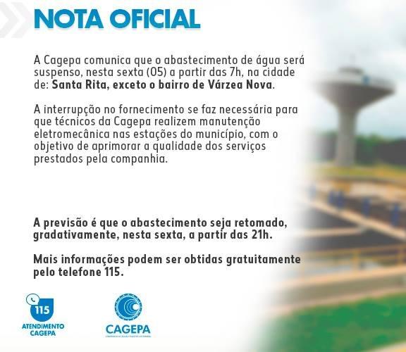 WhatsApp Image 2019 04 04 at 17.35.18 - Cagepa vai interromper fornecimento de água em Santa Rita nesta sexta-feira