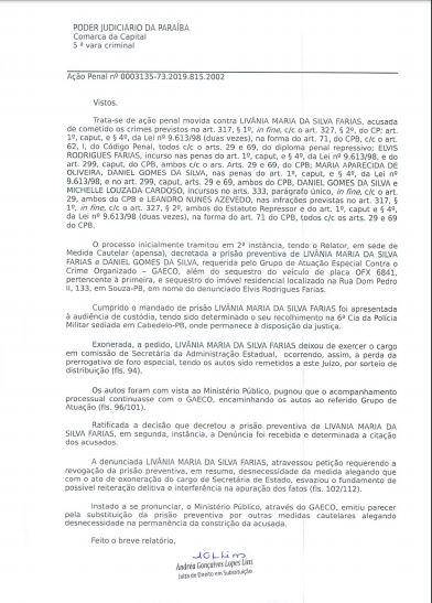 decisão 1 - BOMBA: Juíza Andrea Gonçalves manda soltar Livânia Farias após suposta delação premiada - VEJA A SENTENÇA