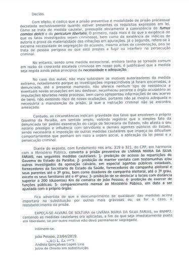 decisão 2 - BOMBA: Juíza Andrea Gonçalves manda soltar Livânia Farias após suposta delação premiada - VEJA A SENTENÇA