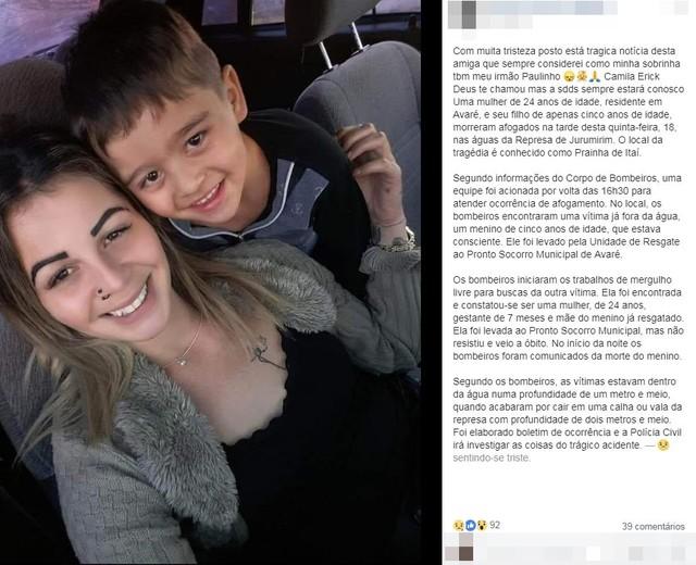 mae e filho morreram apos afogamento em represa de itai sp  - Grávida morre tentando salvar filho afogado em represa; criança também morreu