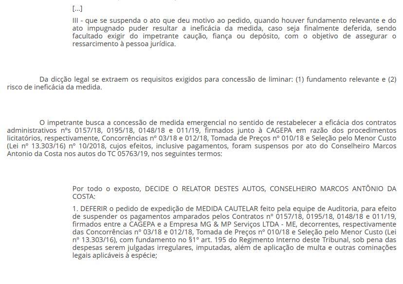 3 - EFICÁCIA RESTABELECIDA: Juiz libera pagamento da Cagepa à empresa vencedora de licitação