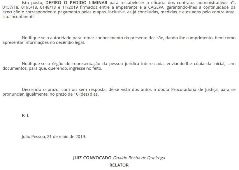 8 1 - EFICÁCIA RESTABELECIDA: Juiz libera pagamento da Cagepa à empresa vencedora de licitação