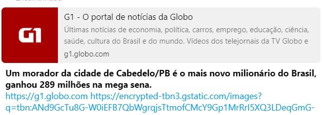 Capturar 26 - FAKE NEWS DA MEGA-SENA: noticia que ganhador do prêmio é da cidade de Cabedelo espalha vírus em aparelhos