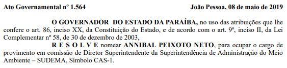 DOE - Novo superintendente da Sudema é nomeado por João Azêvedo