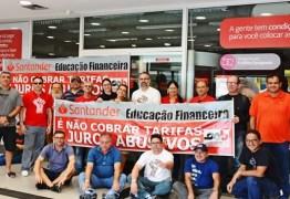 Sindicato dos Bancários protesta contra Santander abrir agências aos sábados na Paraíba