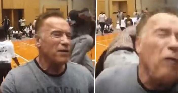 Arnold Schwarzenegger leva voadora e diz que nem sentiu