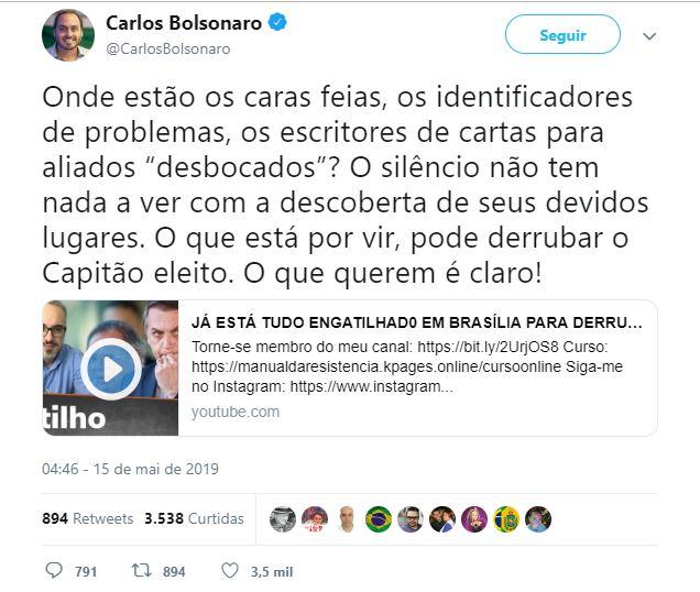 carlos bolsonaro twitter - Carlos Bolsonaro denúncia suposto plano contra o pai