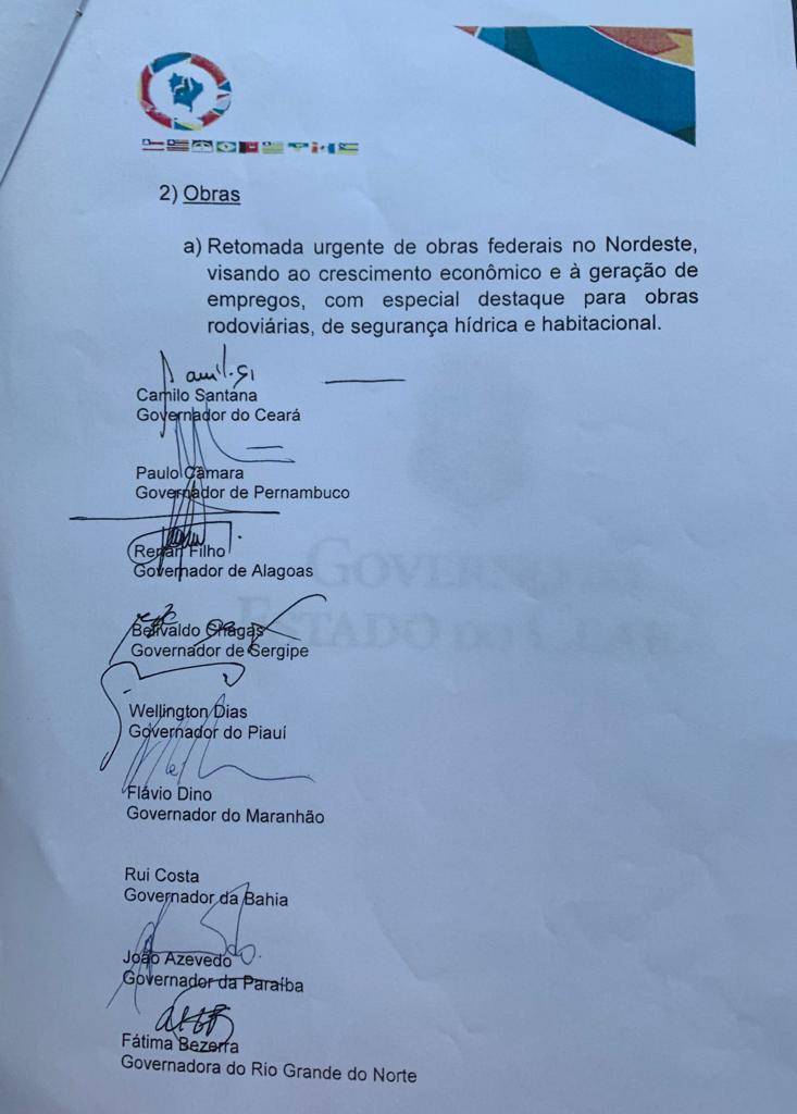 carta 2 1 - EM AUDIÊNCIA COM BOLSONARO E GUEDES: João Azevedo diz que não quer vender a Cagepa e pede alternativa para estados que usam água do São Francisco - OUÇA