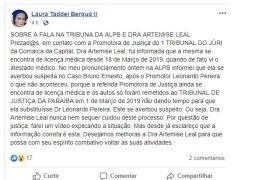 Advogada Laura Berquó volta a atacar publicamente MP e Judiciário paraibano em suas redes sociais