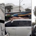 homem nu - Esposa descobre traição e dirige carro com marido pelado no teto - VEJA VÍDEO