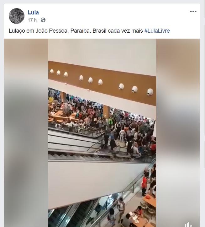 lulaço página lula facebook - Página de Lula destaca movimento 'Lula Livre' em Shopping de João Pessoa