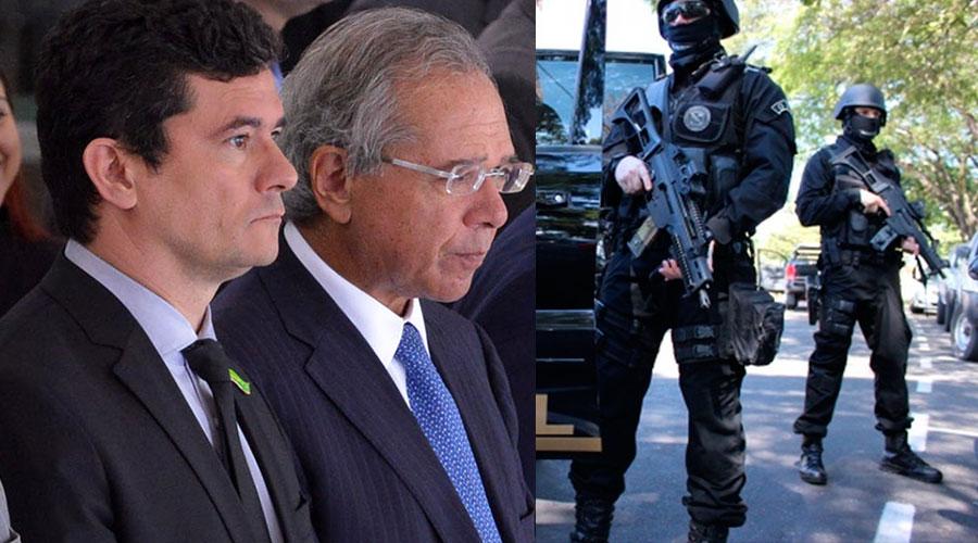 moro guedes policia 1 - Policiais federais e civis se mobilizam contra a reforma da Previdência: 'vai levar a um colapso na segurança'