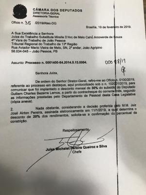 ofas - DÍVIDAS TRABALHISTAS: juíza determina redução de 30% no salário do deputado federal Julian Lemos