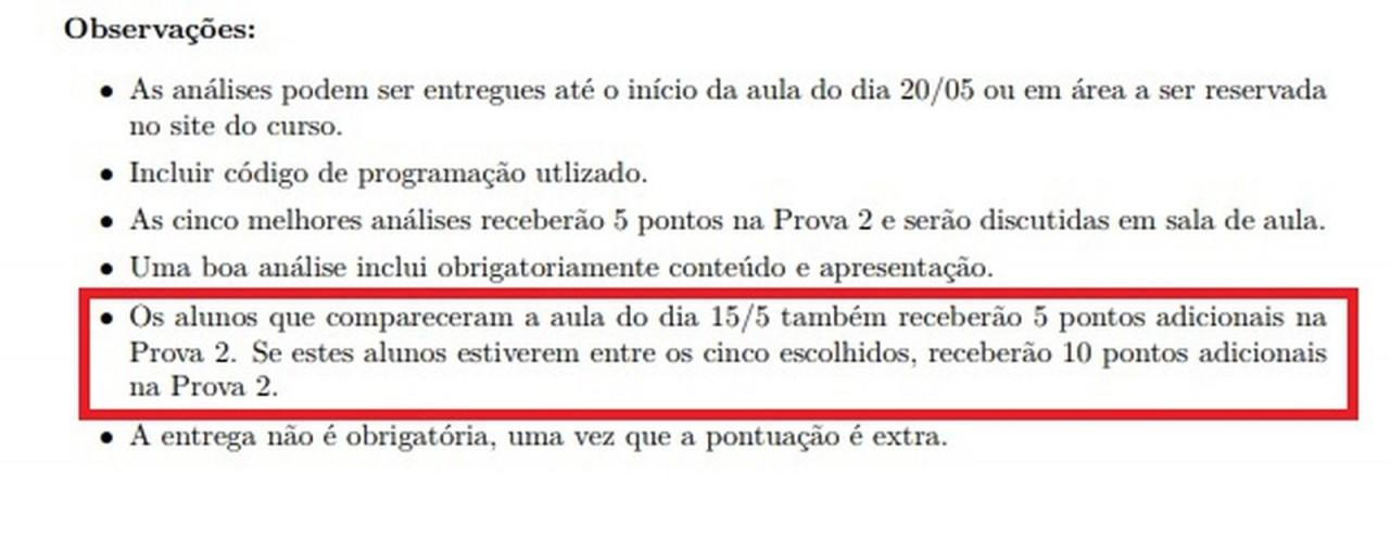 ponto extra final - PONTUAÇÃO EXTRA: professor ofereceu cinco pontos a alunos que não participassem de manifestações