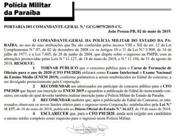portaria cfo 300x232 - Candidatos ao concurso para o CFO 2020 da Paraíba terão que fazer o Enem 2019