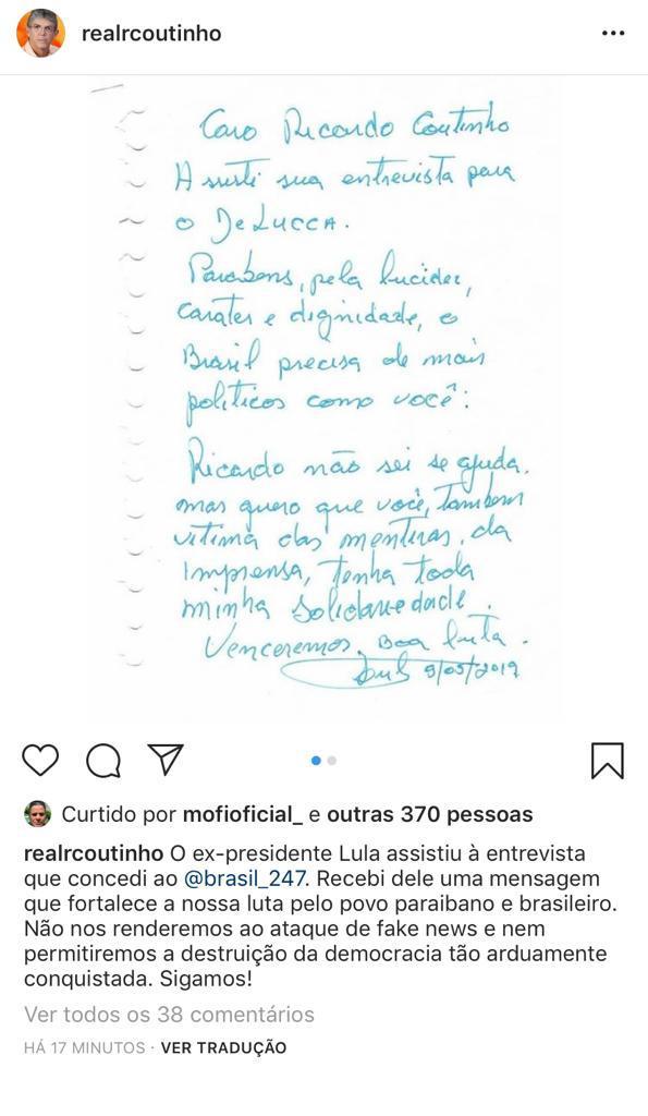 real - 'FORTALECE A NOSSA LUTA': Ricardo Coutinho agradece solidariedade de Lula e diz que não se 'rendera a ataques'