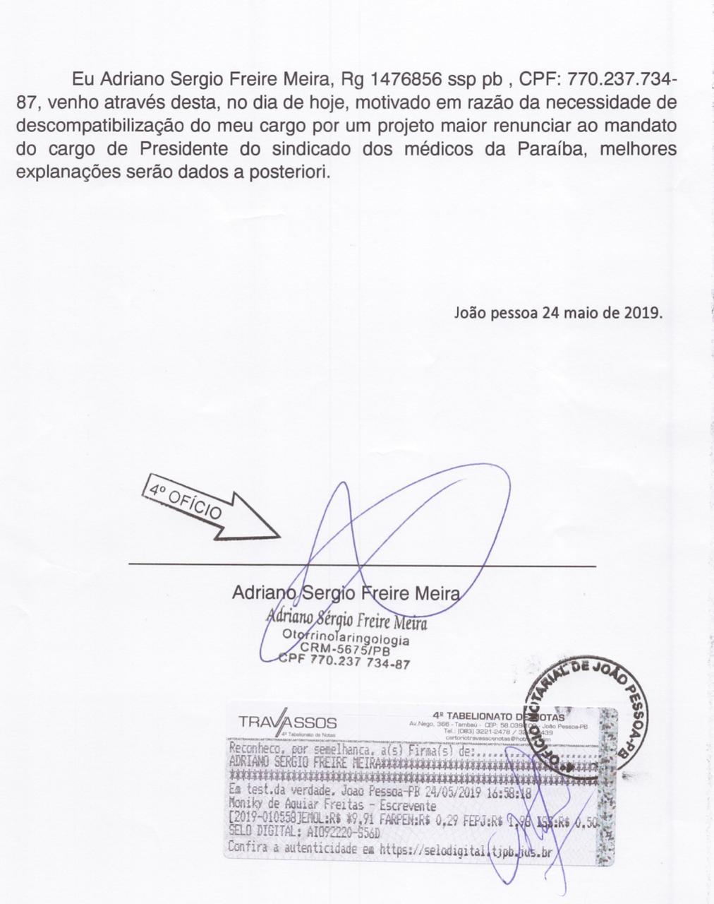 whatsapp image 2019 05 24 at 185040 - 'Projeto maior': Presidente do SIMED-PB renuncia ao cargo