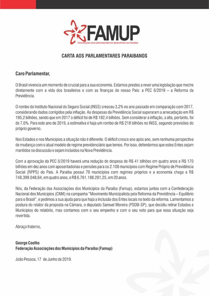 2660e083 7c75 49f3 9efd ac6bb508c2db - Famup envia carta aos parlamentares pedindo inclusão dos municípios na Reforma da Previdência