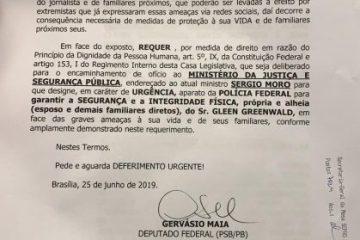 Gervásio Maia pede a Moro proteção para Glen Greenwald