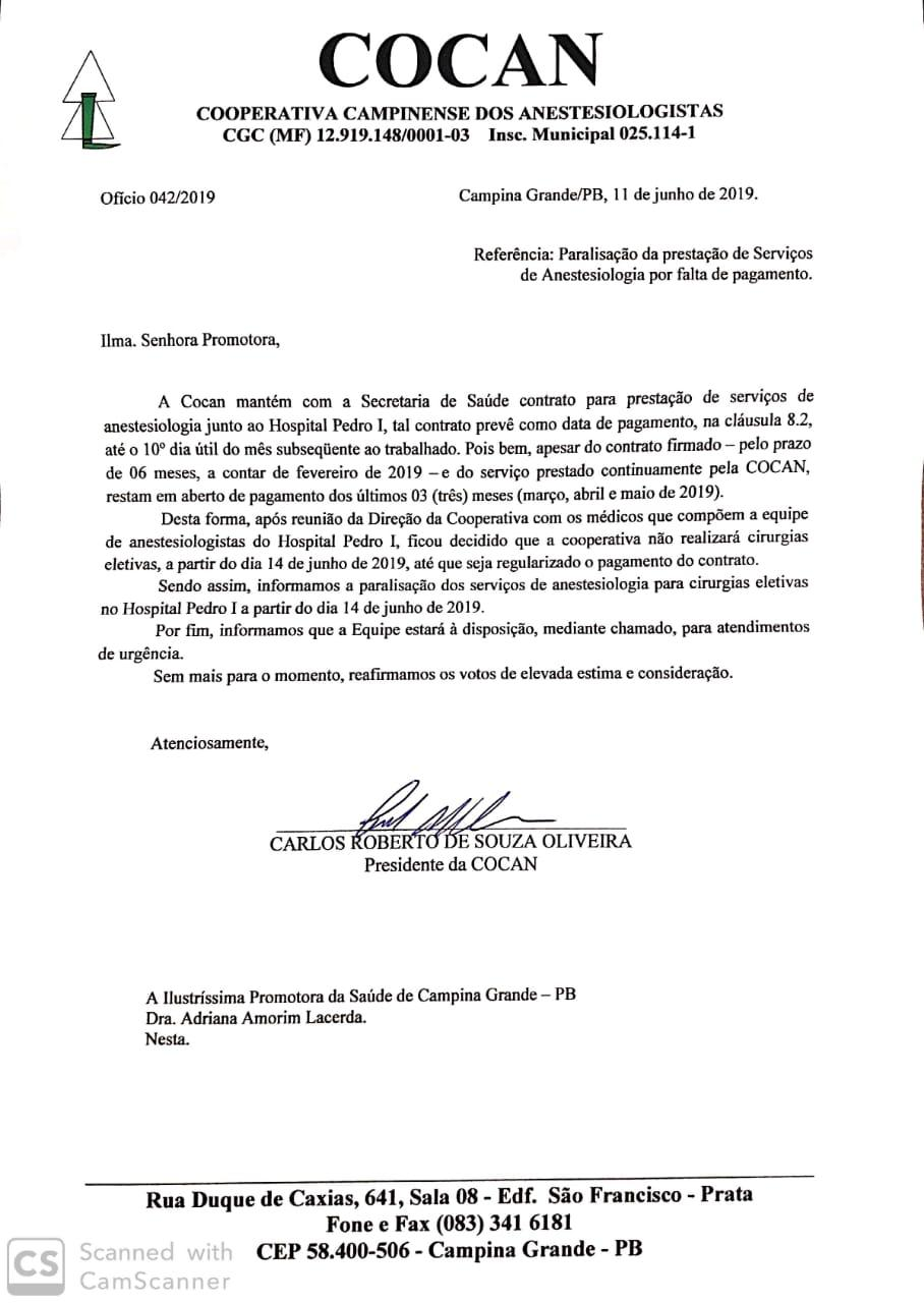 WhatsApp Image 2019 06 11 at 17.43.55 - Governo Romero fica sem pagar salários de anestesistas do Pedro I e suspendem cirurgias a partir de sexta