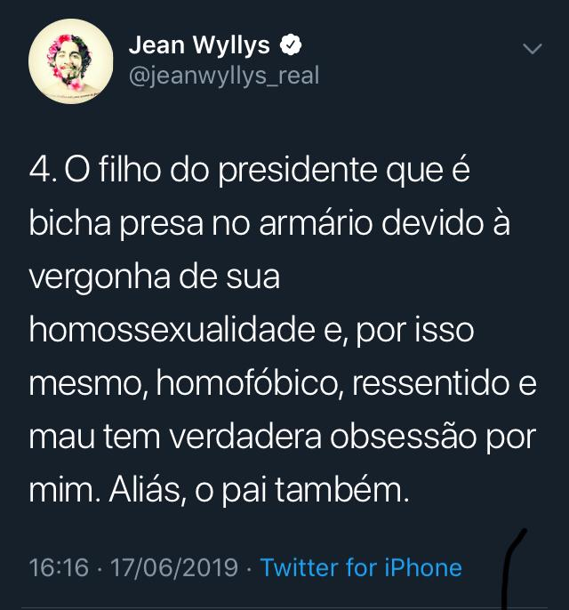 WhatsApp Image 2019 06 17 at 17.44.09 - TWITTER: Jean Wyllys chama filho de Bolsonaro de 'bicha burra presa no armário'