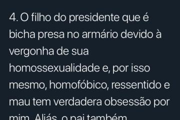 TWITTER: Jean Wyllys chama filho de Bolsonaro de 'bicha burra presa no armário'