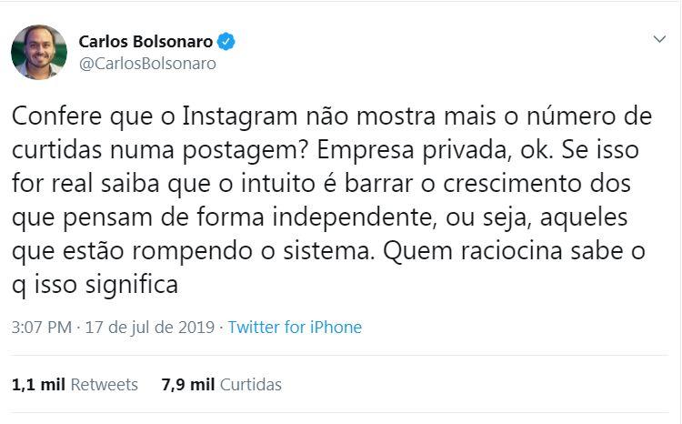 CB - CURTIDAS OCULTAS: Carlos Bolsonaro diz que mudança no Instagram serve para limitar liberdade de pensamento