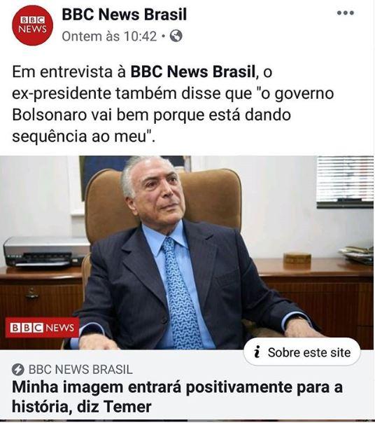 Temer - 'VAIDADE DESPROVIDA DE AUTOCRÍTICA': o que Michel Temer vê de positivo no Governo Bolsonaro - Por Joice Berth